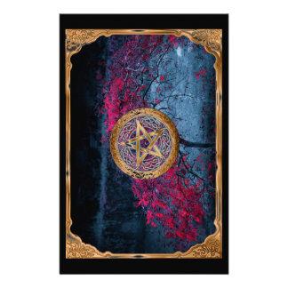 Papelaria O Pentagram pagão de Wiccan altera o pano
