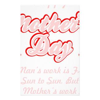 Papelaria O trabalho das mães do feliz dia das mães é nunca