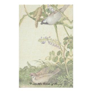 Papelaria O Wildflower asiático dos pássaros floresce