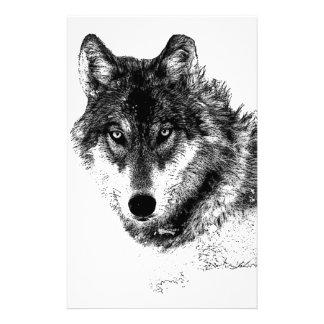 Papelaria Olhos inspirados brancos pretos do lobo