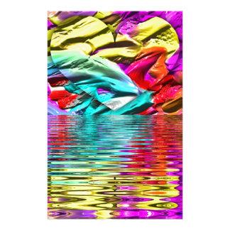 Papelaria Ondinhas florescentes legal da água do abstrato do