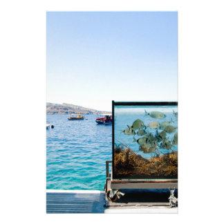 Papelaria Opinião bonita do mar de Santorini