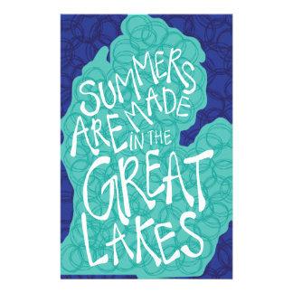 Papelaria Os verões são feitos nos grandes lagos - azul