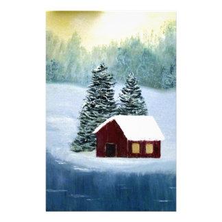 Papelaria Paisagem congelada paz das árvores do rio da neve