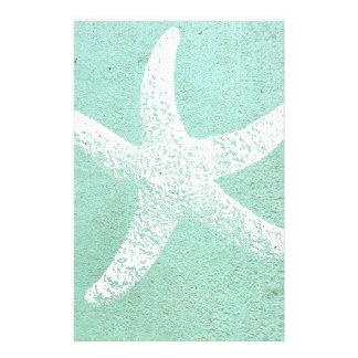 Papelaria Papel de carta azul e branco da estrela do mar