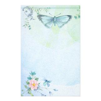 Papelaria Papel de carta bonito da flor de borboleta do