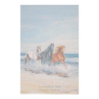 Papelaria Papel de carta, cavalos no surf
