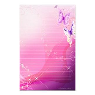 Papelaria Papel de carta cor-de-rosa da borboleta
