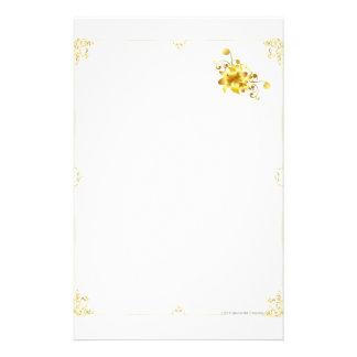 Papelaria Papel de carta da flor do ouro