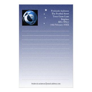 Papelaria Papel de carta do azul do futebol