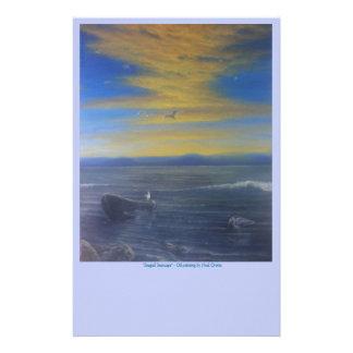 Papelaria Papel de carta do Seascape da gaivota - por do sol