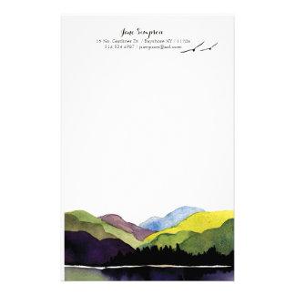 Papelaria papel de carta pessoal da paisagem da aguarela