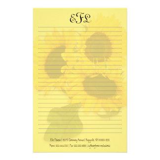 Papelaria Papel de carta pessoal do monograma dos girassóis