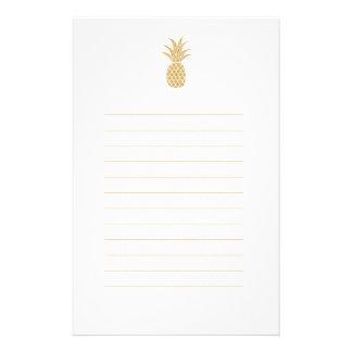 Papelaria Papel de carta régio do abacaxi do ouro