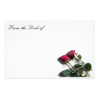Papelaria Papel de nota de papel estacionário branco da rosa