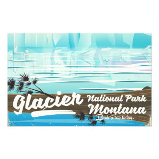 Papelaria Parque nacional de geleira, poster vintage de