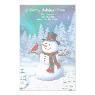 Papelaria Pássaros felizes do boneco de neve e do inverno