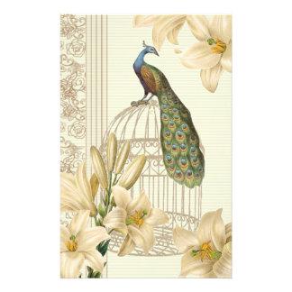 Papelaria pavão francês do birdcage do vintage do lírio do