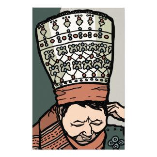 Papelaria Pensamento asiático central da mulher (no chapéu)