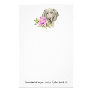 Papelaria Pintura da aguarela do cão e do lírio de