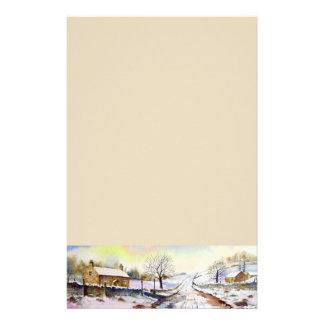 Papelaria Pintura de paisagem invernal da aguarela da pista