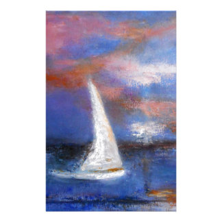 Papelaria Pintura do Seascape da vela do porto do por do sol