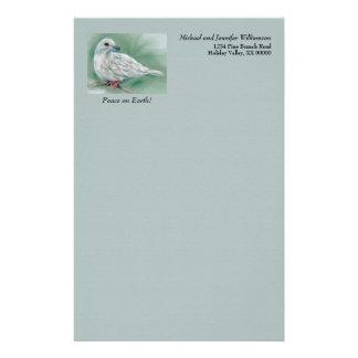 Papelaria Pomba branca no feriado de inverno personalizado