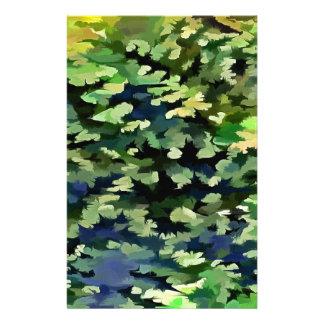 Papelaria Pop art abstrato da folha em verde e no azul