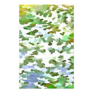 Papelaria Pop art abstrato da folha no verde branco e no pó