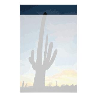 Papelaria Por do sol do sudoeste do cacto do Saguaro da