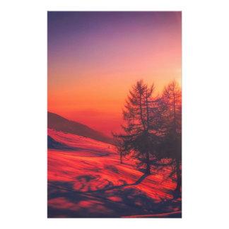 Papelaria Por do sol nevado da noite