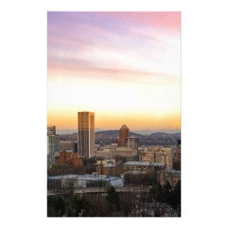 Papelaria Por do sol sobre Portland OU arquitectura da