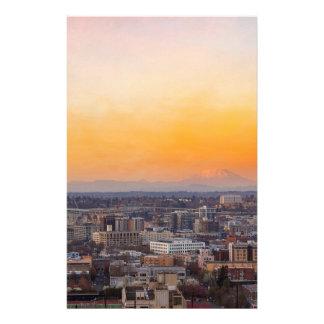 Papelaria Portland OU arquitectura da cidade e por do sol de