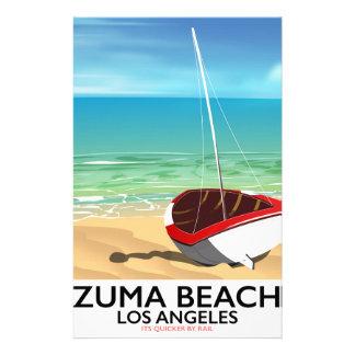 Papelaria Poster da praia do trilho do LA da praia de Zuma