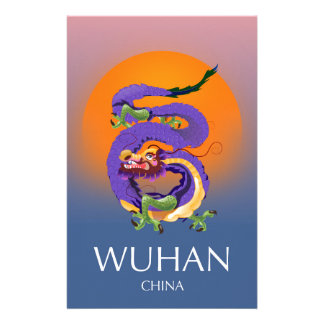Papelaria Poster de viagens do dragão de Wuhan China