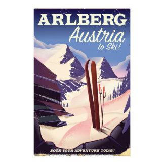 Papelaria Poster de viagens do esqui de Arlberg Áustria