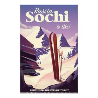 Papelaria Poster de viagens do esqui de Sochi Rússia