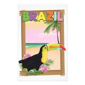 Papelaria Poster do feriado da praia de Brasil Toucan