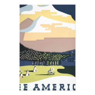 Papelaria Poster Montana América EUA das viagens vintage