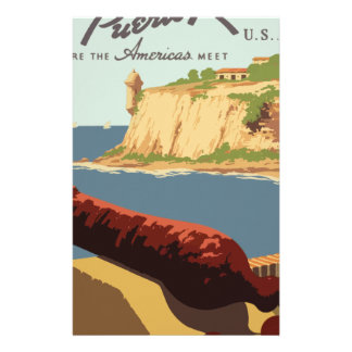 Papelaria Poster Puerto Rico das viagens vintage