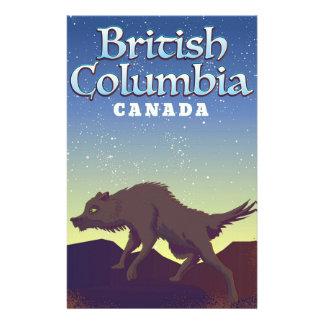 Papelaria Poster selvagem do lobo de Canadá do Columbia