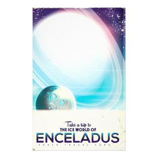 Papelaria Poster vintage da viagem espacial de Enceladus