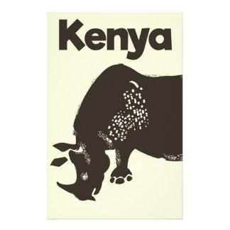 Papelaria Poster vintage do africano do rinoceronte de Kenya