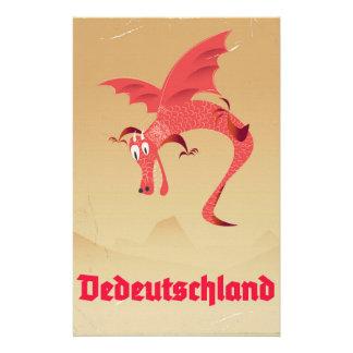 Papelaria Poster vintage do dragão de vôo da alemanha