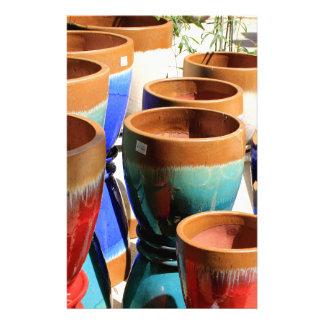 Papelaria Potes coloridos da planta de jardim