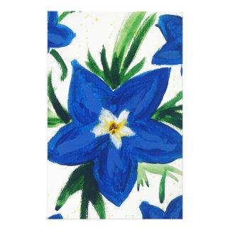 Papelaria pouca coleção azul da flor