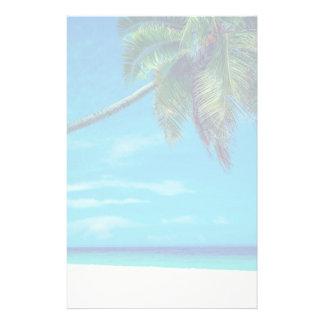 Papelaria Praia branca de Sandy com palmeira tropical