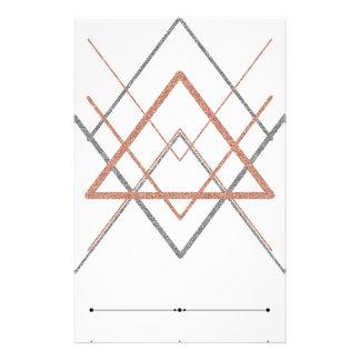 Papelaria Prata cor-de-rosa do ouro dos triângulos