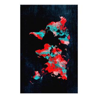 Papelaria preto vermelho do mapa do mundo