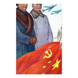 Papelaria Propaganda original Mao Zedong e Josef Stalin